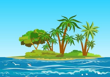 Tropical island in ocean, ocean landscape, vector illustration Иллюстрация