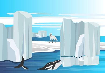 Arctic nature concept scene, whale among the polar icebergs. Illustration