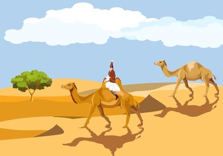 Kazakh woman in traditional dress riding on camel in desert. desert landscape, barhans.