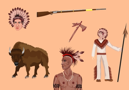 Native north american theme vector set, elements
