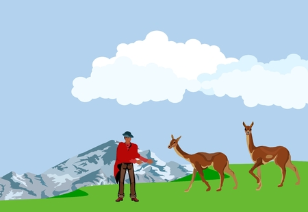 Animals, man and women in national dress, vector landscape Иллюстрация