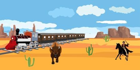 Wild west theme, cowboy, bison, old train, vector illustration 向量圖像