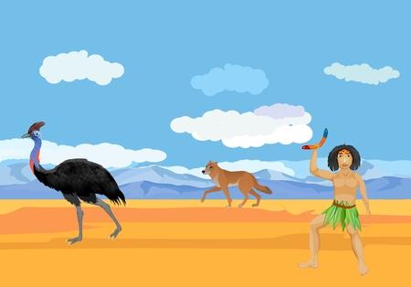 Australian natural wildlife landscape, emu ostrich, aboriginal man, dingo.