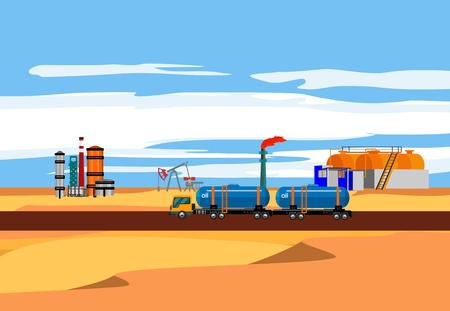 Oil gasoline plant on the desert landscape Illustration