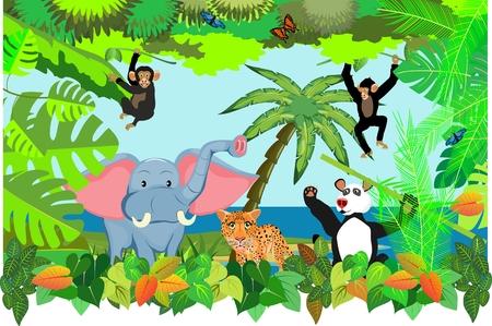 cartoon jungle and cartoon animals, vector illustration, elephant, bear, leopard, monkey.