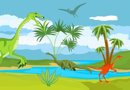 Dinosaurs world, prehistoric landscape scene vector