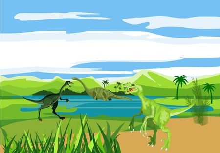 Dinosaurs at the prehistoric scene, ancient river fauna, vector illustration