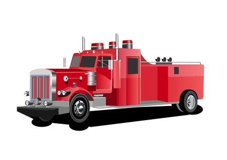Vector 3d style illustration of a red fire truck vector. Illustration
