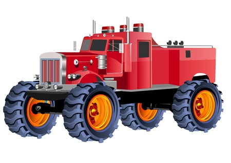 Monster fire truck red colored automobil vector illustration