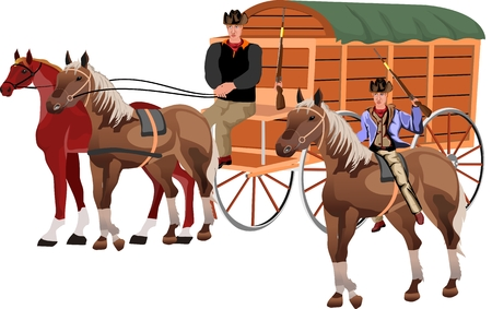 Wild west theme, horse carriage wagon with cowboys isolated on white vector illustration