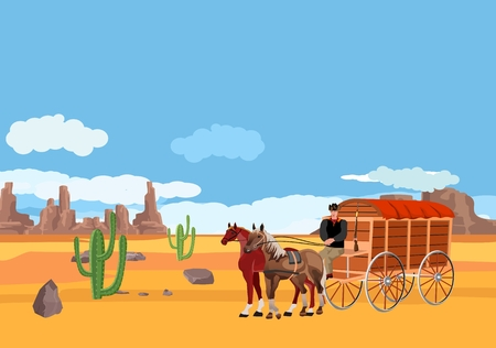 Wild West covered wagons and cowboys in the desert landscape. Vector illustration 矢量图像