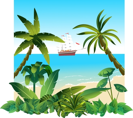 Summer beach, ocean view, ship with white sails background. Vector illustration  イラスト・ベクター素材