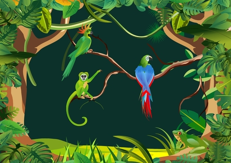 Green Ape  and parrots sitting on tree branch exotic animals and birds jungle backgound vector jungle illustration