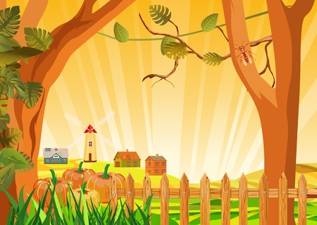 Vector illustration of a sunny countryside landscape. Countryside fall farm elements - fence, mill, trees, pumpkin