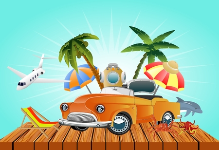 Summer travel, beach, beach, beach, equipments set, advertising.