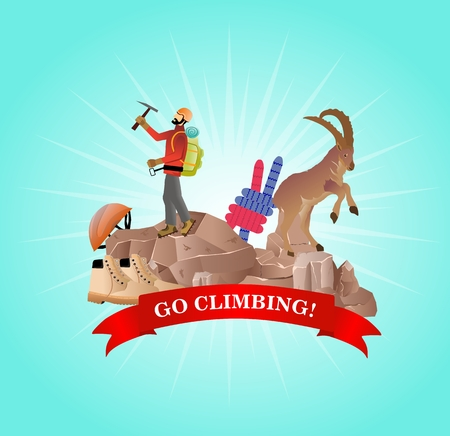 Outsoor sport mountain climbing theme vector illustration Çizim