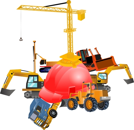 Vector Construction concept image with Tools and technic
