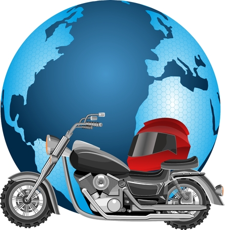 Motorbyce around the world travel concept