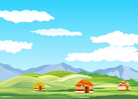 Kazakh steppe, green hiils and mountins, jurts dwellings on the ground, vector Illustration