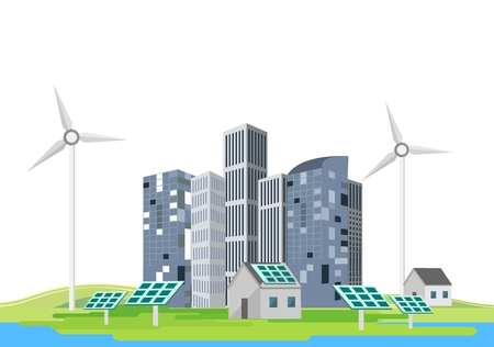 Eco city, future city, energy saving technologies, Banque d'images - 121468705