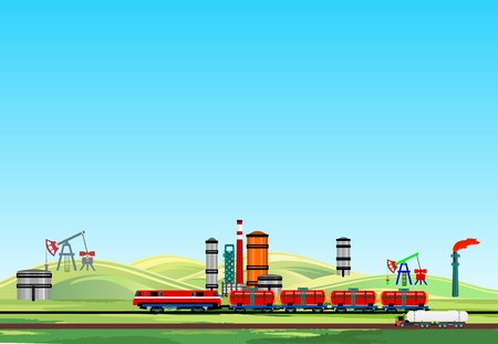 Oil industrial landscape, oil train and oil plants, petrol factory
