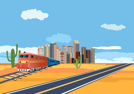 trains in the desert, city buildings in horizon