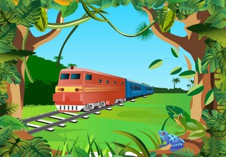 trenes en la jungla, vector de marco floral Ilustración de vector