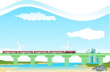 Paisaje de campo, tren en puente, vector de río