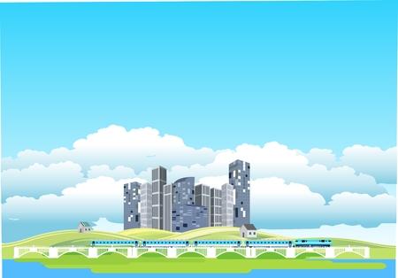 Countryside landscape, ecocity, train on bridge,