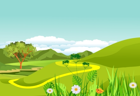 Countryside landscape, green hills and meadows, nature scene vector