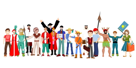Diverse profession set of people isolated on white background. Happy old and young men, women and children standing together. . Flat vector illustration 向量圖像