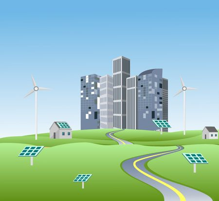 Eco city in green countryside landscape, concept vector illustration Ilustracja