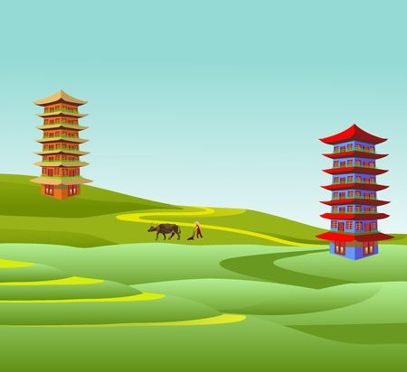 Typical chinese landscape, farm fields, terraces, farmer with bull, pagoda, vector