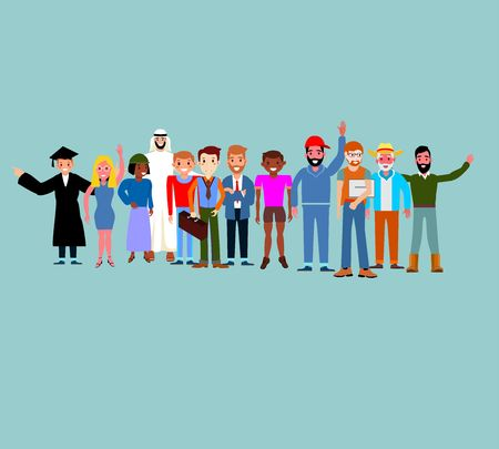 Set of multiracial and multicultural people. Happy old and young men, women in different and traditional dress standing together. Concept, Flat cartoon vector Ilustração