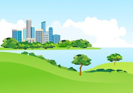 Blue river city building in the coast in the city park, urban landscape in background, vector