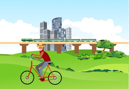 Old man ride the bycycle in the city park, urban landscape in background, vector 일러스트