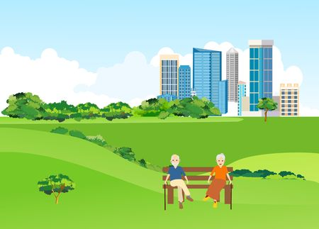 Old people sitting on the bench in the city park, urban landscape in background, vector 스톡 콘텐츠 - 127328462