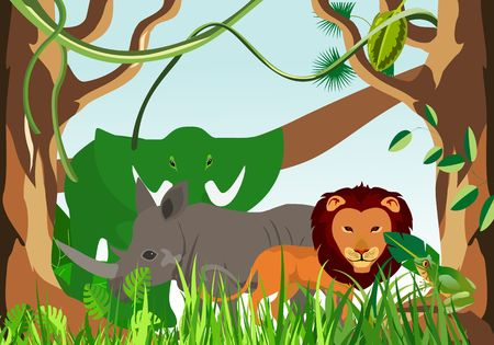 Holiday and travel illustration with exotic cartonn animals . Tropical floral frame with blue sky. Vector 스톡 콘텐츠 - 127328463
