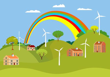 Cottage houses on green hills. Vector countryside Landscape with rainbow  on Background. 일러스트