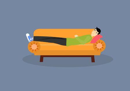 Sleeping boy on the sofa, flat vector