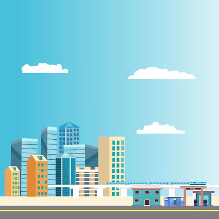 Modern skyscrapers, office buldings of the modern city, urban multicolor landscape . Vector 스톡 콘텐츠 - 127328534