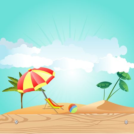 Summer Time Holiday illustration on vintage wood background. Tropical plants,sunshade, beach sand,  Vector.