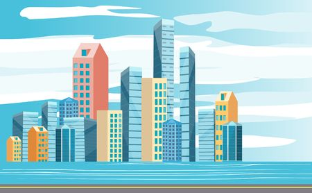Modern skyscrapers, office buldings of the modern city, urban multicolor landscape by the river. Vector 일러스트