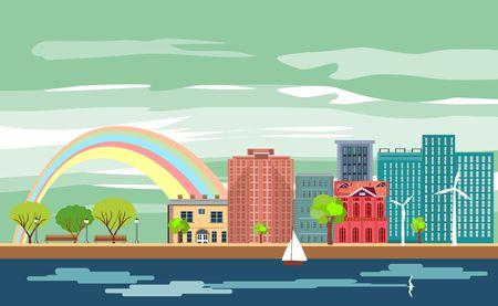 Urban cartoon multicolor colorful buildings city town panorama , River sea canal channel bridge, rainbow, multi color street
