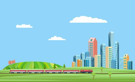 Urban and countryside landscape  with city buildings, train on the railroad . Family houses in town and clouds in the sky green hills in background. 스톡 콘텐츠 - 127328538
