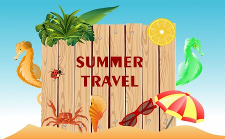 Summer Time Holiday illustration on vintage wood background. Tropical plants,sea animals, sea horses, flower, , lemon, insects. Vector. 스톡 콘텐츠 - 127328540