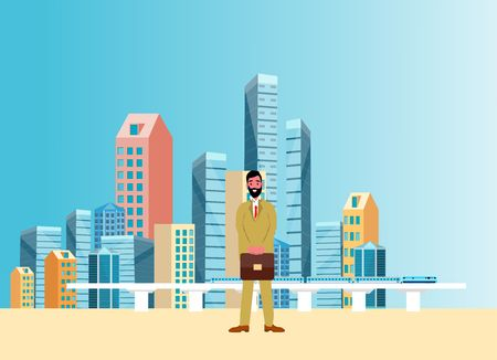 Businessman  staying on the street and skyline skyscrapers background.  urban city, skyline and downtown, vector illustration 일러스트