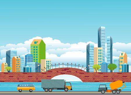 City river bank bridge and skyline skyscrapers background.  Urban city, skyline and street with automobils vector illustration 스톡 콘텐츠 - 127328303