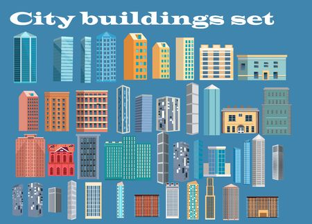City buildings  icons set, vector. 스톡 콘텐츠 - 127328304