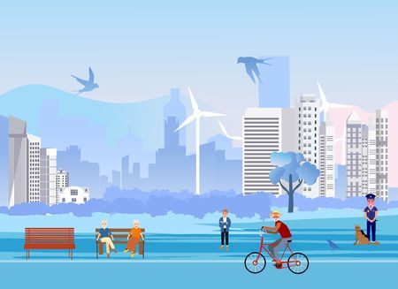 Summer city park area with people in the foreground and  silhouettes of modern buildings in the background.  vector illustration.